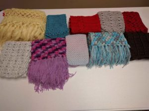 photo of 10 crocheted scarves
